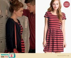 Lydia's coral and navy striped eyelet dress on Teen Wolf.  Outfit Details: http://wornontv.net/18509/ #TeenWolf