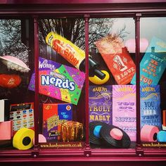 This window display  #hardyssweets #sweets #sweetshop #sherbet #nerds #jellybean #liquorice #allsorts #givemethemall #whyarentallsweetsthisbig