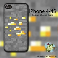 Minecraft Gold Ore iPhone 4/4s Black Rubber Silicone cover. $15.00, via Etsy. Pretty fricking awesome