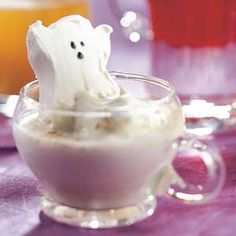 Ooooh, spooky! Delight little goblins and float a ghost-shape marshmallow on this hot white chocolate drink.