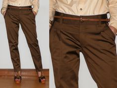 Womens Pants Ladies Trousers in Shiny Brown for Women Office Fashion. $39.00, via Etsy.