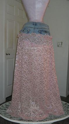 lace jean skirt  vintage
