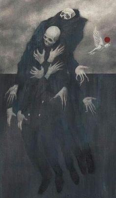 Skull Art by Randy Ortiz ☠️ Arte Horror, Horror Art, Death Art, Satanic Art, Macabre Art, Occult Art, Creepy Art, Gothic Art, Fantastic Art