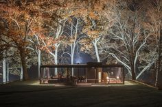 Philip Johnson Glass House Photographed by Lane Coder in Autumn | Architectural Digest