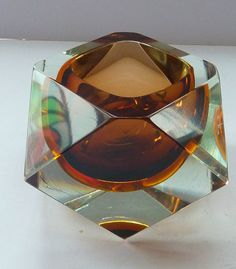 Vintage Chocolate & Dark Yellow Faceted Murano SOMMERSO Geode Mandruzzato Italian Glass Bowl