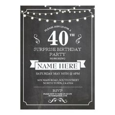 Surprise Birthday Invitations Chalkboard Surprise Birthday Party 40th Invite