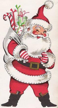 Santa with sack vintage Christmas card image. Vintage Christmas Images, Old Christmas, Old Fashioned Christmas, Christmas Scenes, Retro Christmas, Vintage Holiday, Christmas Pictures, Christmas Crafts, Christmas Mantles
