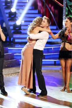 Amy Purdy and Derek Hough react to being safe from elimination on #DWTS week 7 (4/28/14)