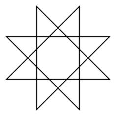 Octagram:In general, an octagram is any self-intersecting octagon (8-sided polygon).  The regular octagram is labeled by the Schläfli symbol {8/3}, which means an 8-sided star, connected by every 3rd point.  There is one compound star figure, {8/2}, composed of two squares, called the Star of Lakshmi.  The symbol Rub el Hizb is a Unicode glyph ۞