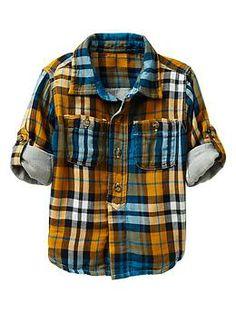 Convertible herringbone plaid shirt | Gap