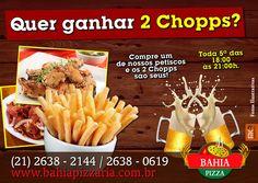 Promoção de Quinta-feira!! #BahiaPizzaria #Petisco #2Chopps #VemPraBahiaPizzaria