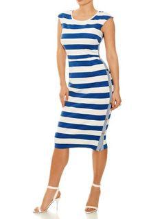 St Tropez Dress - blue & white stripe bodycon dress for busty women from Saint Bustier.  http://www.saintbustier.com/st-tropez-dress.html