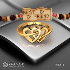 U And Me Knotted Ring Antique Jewellery Designs, Gold Ring Designs, Gold Jewellery Design, Gold Jewelry Simple, Gold Rings Jewelry, Gold Bangles, Gold Ring Indian, Couple Ring Design, Gold Finger Rings