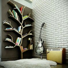 Ezyshine has bought the creative contemporary bookshelves design ideas that can fit on the walls, save the space & can give a sleek look to the home interior. These contemporary bookshelves design can make your home colourful & scenic. Tree Bookshelf, Tree Shelf, Book Shelves, Bookshelf Ideas, Bookshelf Design, Book Storage, Wall Shelves, Tree Wall, Storage Ideas