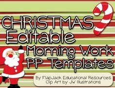 These are a lifesaver! Brighten your room during the Christmas holidays with these editable PowerPoint templates that you can use to display morning work or seat work instructions. This resource contains five PP slides (one for each day of the week), and there are two templates to choose from for each theme. $