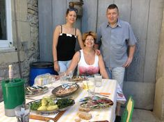 A country French mid day meal at friends' Martine and Patrice, and Elodie Janot, in Canaules, Provence
