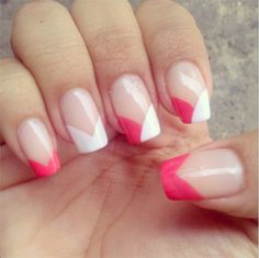 Chevron French manicure nails with a twist