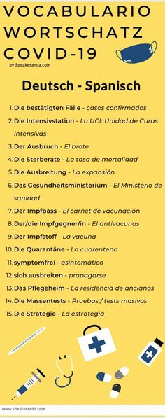 Wortschatz deutsch-spanisch coronavirus Good Things, Fun, Corona, Comprehension Activities, Vocabulary, Health Ministry, Intensive Care Unit, Spanish, Deutsch