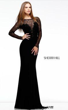 Lace Long Sleeve Sherri Hill 4309 Black Jersey Prom Dress