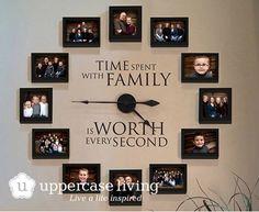 35+ kreative DIY Möglichkeiten, um Ihre Familie Fotos anzuzeigen -> Creative Familien-Foto-Wanduhr