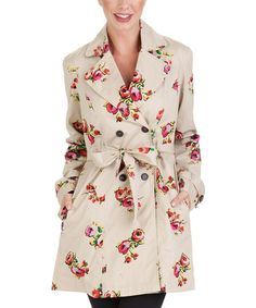 Take a look at this Khaki Floral Double-Breasted Trench Coat by Tulle on #zulily today!