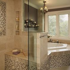 Traditional Bathroom Design, Glass tub surround, tile tub deck, continued into the shower.