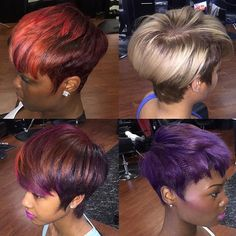 Which color is your fave? All done by @msklarie ❤️  #thecutlife #shorthair #haircolor #hairstylist #stunner ✂️