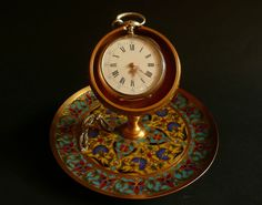 Gorgeous Antique signed Ormolu Barbedienne Champleve Enamels Watch Holder 1880