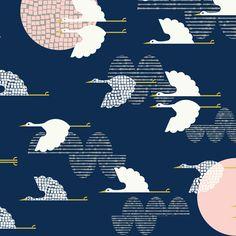 1000 Cranes | Indigo :: Tsuru by Rashida Coleman-Hale for Cloud9 Fabrics
