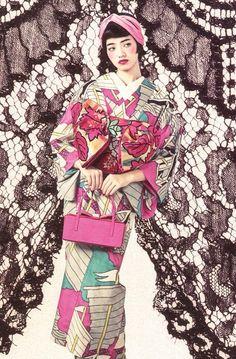 Uh oh, obi tied in the front? This is sure to bring a gloved hand to grandma's lips to hide her shock at the resemblance to an oiran of the pleasure quarters! Yukata Kimono, Kimono Japan, Kimono Dress, Japanese Kimono, Kimono Style, Harajuku Fashion, Japan Fashion, Traditional Fashion, Traditional Outfits