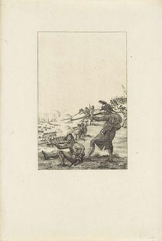 Reinier Vinkeles | Landing van de Britten bij Callantsoog, 1799, Reinier Vinkeles, 1806 - 1808 | De landing van de Britse invasiemacht aan de kust bij Callantsoog, 27 augustus 1799. Vanaf de duinen vuren de Bataafse soldaten op de landingstroepen.
