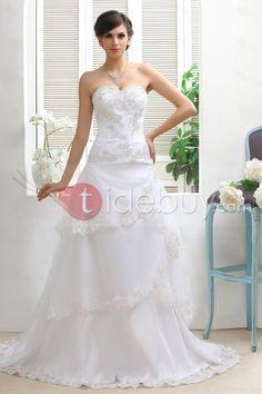 A-ライン/プリンセススイートハートネック床長さコートウェディングドレス