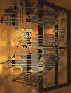 Tiina Pyykkisen teos, materiaaleina alkydi, öljy ja pigmentti kankaalle.