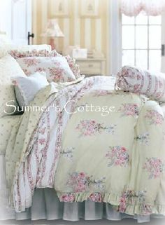 QUEEN RACHEL ASHWELL SIMPLY SHABBY CHIC PINK ROSES DUVET COMFORTER COVER