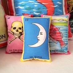 WEEKEND SALE: Luna (moon) Mexican Loteria Mini Pillow Lavender Sachet - Dia De Los Muertos decor, Day of the Dead party favor, Mexican gift, by PillowandPocket on Etsy https://www.etsy.com/listing/111577160/weekend-sale-luna-moon-mexican-loteria