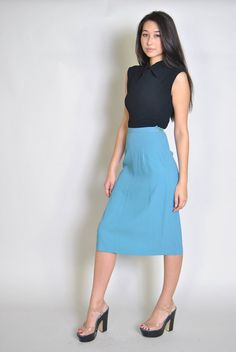 Vintage Pencil Skirt 40s Pencil Skirt High Waist Sky Blue Skirt XS S