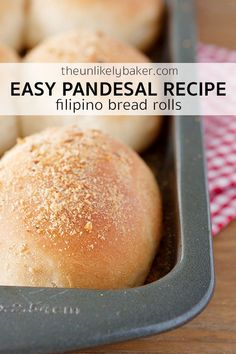 Here's an easy pandesal recipe so you can make the quintessential Filipino bread roll at home. It's crunchy outside, soft and fluffy inside, perfect with butter or dipped in your morning coffee. #easyrecipe #baking #bread #Filipinofood #pandesal