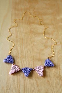 Let's Crochet: Bunting Necklace  // Caught On A Whim Blog