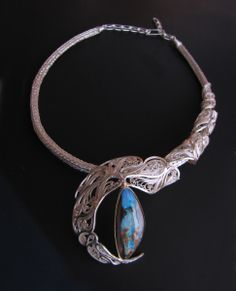 """Necklace   Victoria Lansford.  """"Curves In the Right Places III"""".  Russian filigree and Roman chain; 22k gold, sterling silver, fine silver, Koroit Opa"""