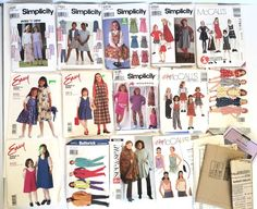Vintage Lot 25+ Sewing Patterns 80/90's Simplicity Mccalls Womens Childrens Fall