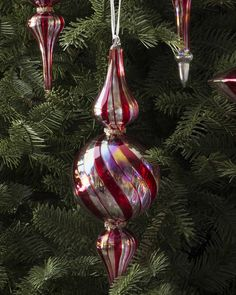 Candy cane finials from the Red, White and Sparkle Ornament Set
