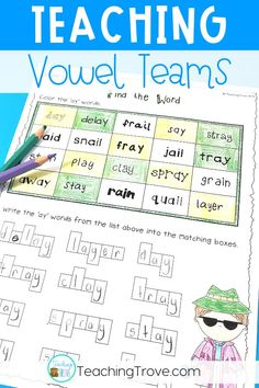 Looking for engaging vowel teams worksheets to help your kindergarten, first grade or second grade students learn the ai and ay spelling pattern? These pages get kids spelling and writing words with vowel teams in them. Introduce the vowel team with the posters and then consolidate them with the worksheets and activities. #vowelteams #phonicsworksheets  #aiandayactivities