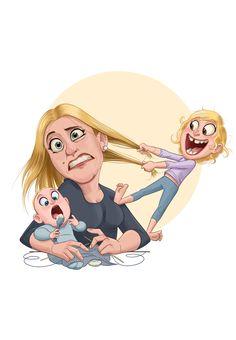 Job Life Mix on Behance Children's Book Illustration, Character Illustration, Graphic Design Illustration, Mother Daughter Art, Mother Art, Cartoon Drawings, Cartoon Art, Cute Drawings, Character Art
