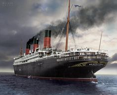 "raurrie: ""The Berengaria. Colorized by Steve Walker. Titanic Ship, Rms Titanic, Merchant Navy, Best Boats, Tug Boats, Tall Ships, Sailing Ships, Ocean, Steamers"
