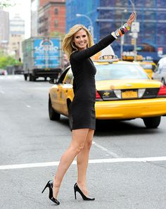 Heidi Klum debuted the new additions to her WILDLIFE by Heidi Klum collection while hailing a cab in NYC; the supermodel showcases the new line of bracelets, necklaces, earrings and more on QVC.com May 17.