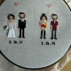 Anniversary Gift Cross Stitch Family Portrait Then and Now Cotton Anniversary Gift Wedding Couple Linen Anniversary Present for Her Gift for Cotton Anniversary Gifts, Anniversary Gifts For Couples, 2nd Anniversary, Anniversary Present, Homemade Wedding Gifts, Homemade Anniversary Gifts, Cross Stitch Family, Gifts For Wife, Couple Gifts