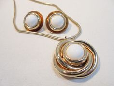 Vintage White Lucite Pendant Necklace & Earrings SET/LOT Gold Plated Tone Retro! #Unbranded