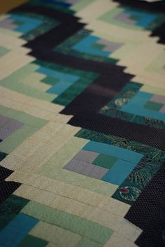log cabin quilt by aswim in knits, via Flickr