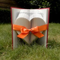 Solid Heart - Orange Ribbon - Valentine's day - Folded book art - girlfriend gift - anniversary - wedding - handmade - Book Sculpture