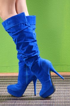 Royal Blue Faux Suede Cuff Calf High Close Toe Platform Boots @ Amiclubwear Boots Catalog:women's winter boots,leather thigh high boots,black platform knee high boots,over the knee boots,Go Go boots,cowgirl boots,gladiator boots,womens dress boots,skirt b